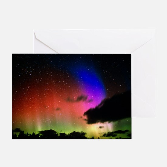 Aurora Borealis display with clouds Greeting Card