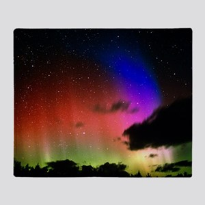 Aurora Borealis display with clouds Throw Blanket