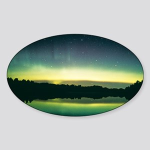 Aurora borealis display reflected u Sticker (Oval)