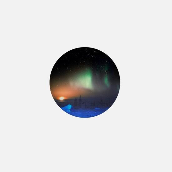 Aurora Borealis display over Manitoba, Mini Button