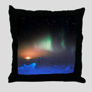 Aurora Borealis display over Manitoba Throw Pillow