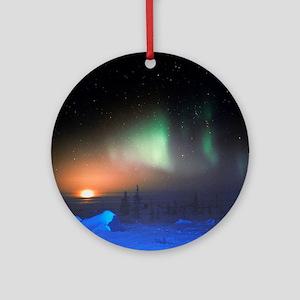 Aurora Borealis display over Manito Round Ornament