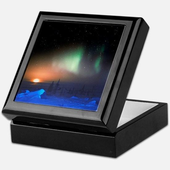 Aurora Borealis display over Manitoba Keepsake Box
