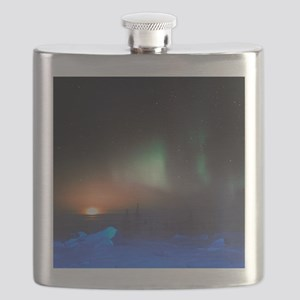 Aurora Borealis display over Manitoba, Canad Flask