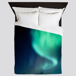 Aurora Borealis and satellite station  Queen Duvet