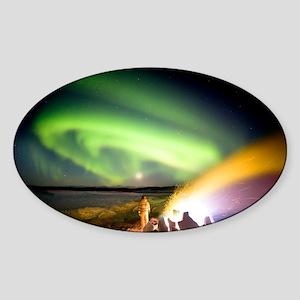 Aurora watching, time-exposure imag Sticker (Oval)