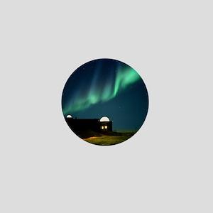 Aurora borealis over observation domes Mini Button