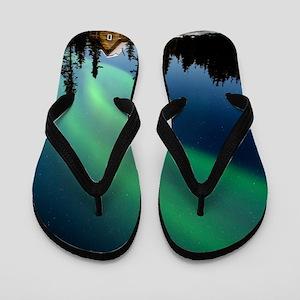 Aurora borealis in Alaska Flip Flops