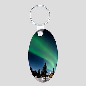 Aurora borealis in Alaska Aluminum Oval Keychain