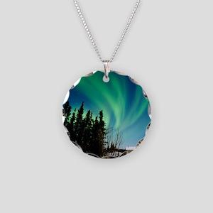 Aurora borealis in Alaska Necklace Circle Charm