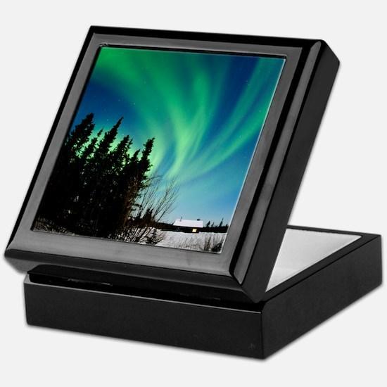 Aurora borealis in Alaska Keepsake Box
