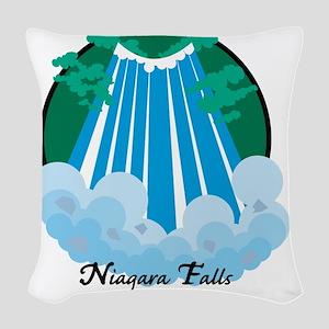 NiagardaFalls1Wh Woven Throw Pillow