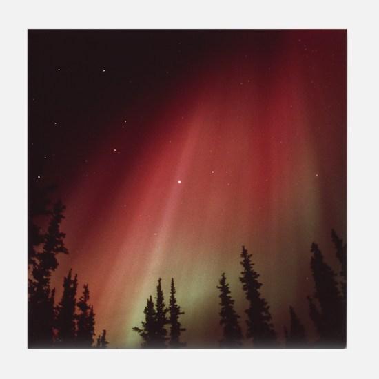 Aurora borealis Tile Coaster