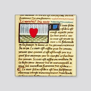 "Cardiac treatise, 15th cent Square Sticker 3"" x 3"""