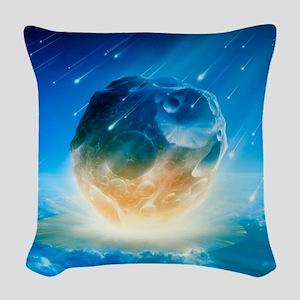 Artwork showing Chicxulub impa Woven Throw Pillow