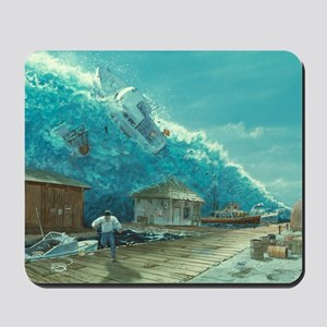 Artwork of a tsunami destroying a small  Mousepad