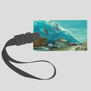 Artwork of a tsunami destroying  Large Luggage Tag