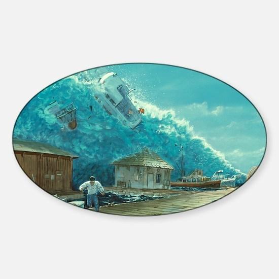 Artwork of a tsunami destroying a s Sticker (Oval)