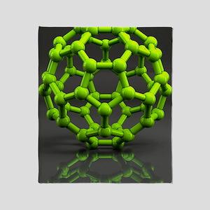 Buckyball molecule C60, artwork Throw Blanket