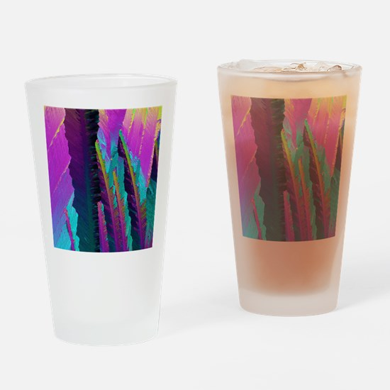 Caffeine crystals, light micrograph Drinking Glass