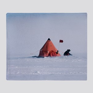 Antarctic field camp Throw Blanket