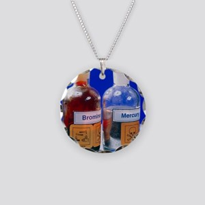 Bottle of bromine and mercur Necklace Circle Charm