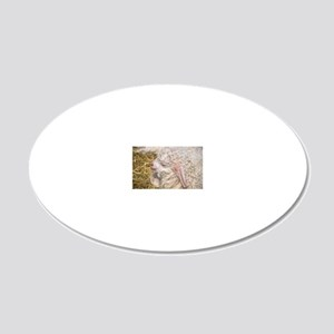 Angora goat kid 20x12 Oval Wall Decal