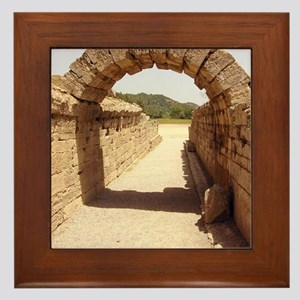 Ancient Olympia stadium entrance Framed Tile