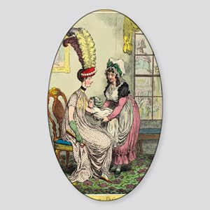 Breastfeeding, 18th-century caricat Sticker (Oval)