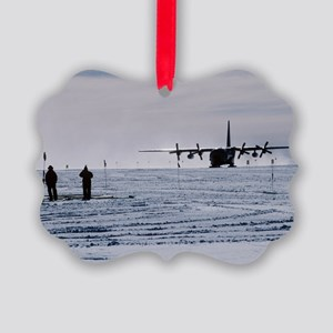 Antarctic airfield Picture Ornament