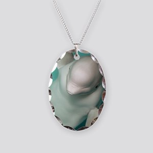 Beluga whale, Delphinapterus l Necklace Oval Charm