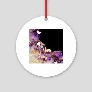 Amethyst crystals Round Ornament
