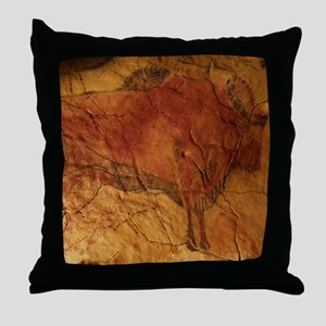 Altamira cave painting of a bison Throw Pillow