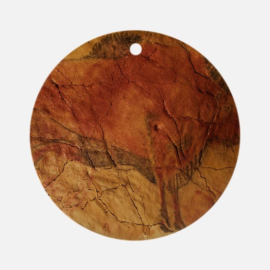 Altamira cave painting of a bison Round Ornament