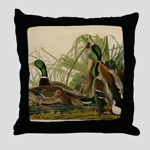 Mallard duck Audubon Bird Vintage Pri Throw Pillow