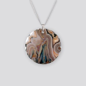 Agate slice Necklace Circle Charm