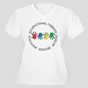OT CIRCLE HANDS 2 Women's Plus Size V-Neck T-Shirt