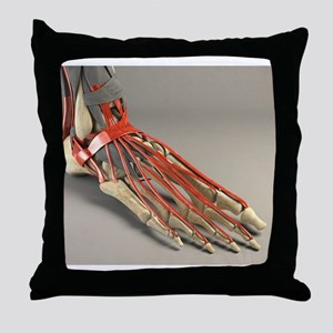 Ankle joint and foot, artwork Throw Pillow