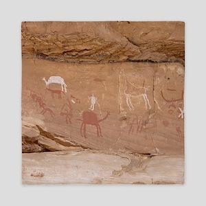 Animal pictographic frieze, Libya Queen Duvet