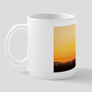 Airport at sunset Mug