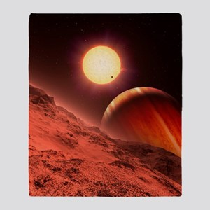 Alien planetary system, artwork Throw Blanket