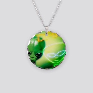 Alien visiting Earth, artwor Necklace Circle Charm