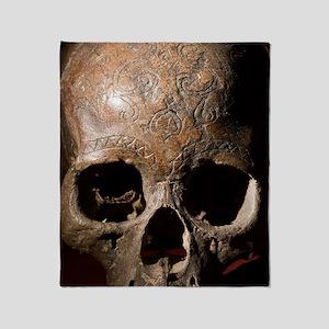 19th C. Carved Kayan dayak skull tro Throw Blanket
