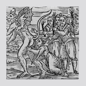 Adoration of the Devil, 17th century Tile Coaster