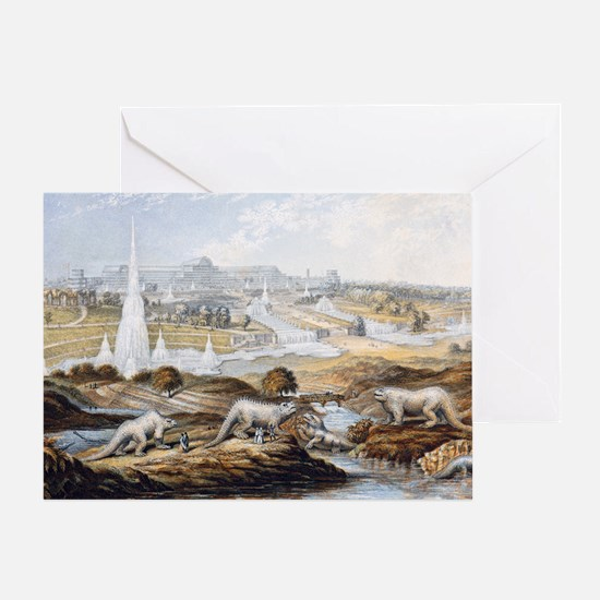 1854 Crystal Palace Dinosaurs by Bax Greeting Card