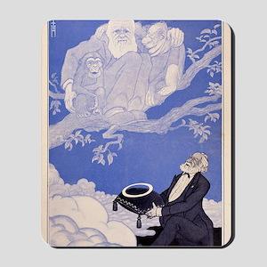 1909 Cartoon Darwin, apes, Haeckel Mousepad