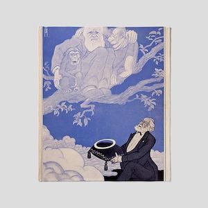 1909 Cartoon Darwin, apes, Haeckel Throw Blanket