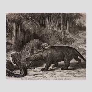 1863 Figuier Iguanodon and Megalosau Throw Blanket