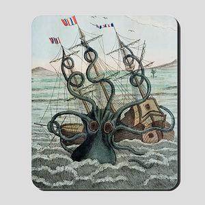 1815 Collosal Polypus octopus and ship Mousepad
