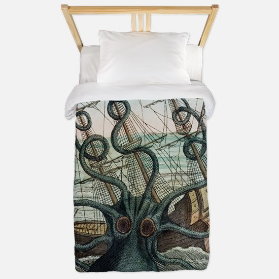 1815 Collosal Polypus octopus and ship Twin Duvet